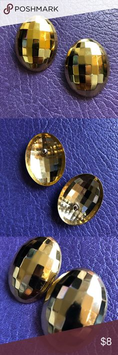 Vintage Disco Ball Gold Tone Earring Large gold tone disco ball fashion earring with post backing. Great vintage condition. Vintage Accessories