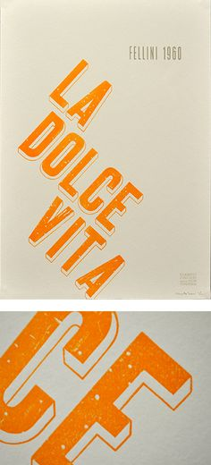 Heres #2, La Dolce Vita Her info: Italian Film Poster Series: Federico Fellinis La Dolce VitaDesigned by Meta Newhouse, who used worm-eaten vintage typography fromthe archives at Tipoteca (Cornuda, Italy) to communicate thedecline in morality during the 1960s (one of the key themes of the film) More info and the complete series at Etsy.