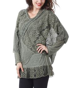 Another great find on #zulily! Green Embroidered Layered Cape Sleeve Tunic #zulilyfinds