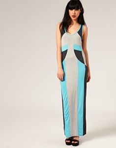 Image 1 of Full Circle Block Panel Maxi Dress