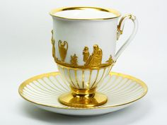 Meissen Cup & Saucer with Greek Figures                                                                                                                                                                                 Mais