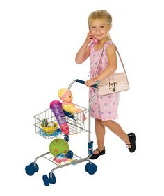 Little one push this adorable shopping cart through imaginary aisles in search of a sugary treat Mom won't let them have. Constructed from durable materials and featuring cushion handle, folding fabric seat and pivoting front wheels, it's a bitty buggy that's perfect for active adventurers.