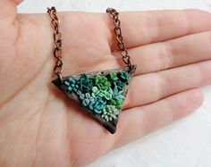 Polymer clay jewelry - succulent pendant - original floral jewelry - polymer clay pendant - succulent necklace