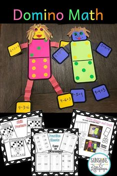 Domino Math is a fun way to learn #addition and #subtraction fact families in a fun way and with this AMAZING resource you will be ready to celebrate  National Domino Day on November 16th. With lots of differentiated activities, worksheets, posters  plus a creative and fun craft you know your students will be motivated to write those #math fact families and ask for more of these...I mean who would not want to make this adorable #craft? #dominomath #factfamiles #dominocraft  #dominosort