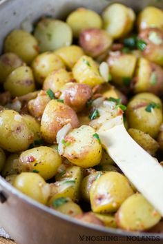 I have a treat for you today! An excellent Hot German Potato Salad made with Chilean Splash Creamer potatoes from The Little Potato Company. Potato Salad With Apples, Potato Salad Recipe Easy, Potato Salad Dill, Potato Sides, Potato Side Dishes, Vegetable Side Dishes, Onion Recipes, Potato Recipes, Salad Recipes