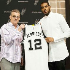 RC Beauford and LaMarcus Aldridge holding his official Spurs jersey! was retired by Bruce Bowen but he decided to give his jersey to LMA with his blessing to make him feel comfortable and part of the team. Lamarcus Aldridge, Dallas, Cowboy Spurs, Manu Ginobili, David Robinson, Basket Ball, Nba Champions, San Antonio Spurs