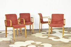 "Set of four vintage bent wood dining chairs, designed by Bill Stephens for Knoll.     23"" wide x 31.5"" high x 23"" deep    seat height: 18""    inside seat depth: 15.5""     $1200.00 to purchase the set of chairs as shown   $325.00 each to reupholster    $100.00 each to sand and restore each chair frame   8 yards needed total"