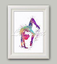 Gymnastics Tumbling 2 Watercolor Print Sports Art Poster Home Decor Nursery Art Girl's Room Decor Gymnastics Wall Art Gymnastics Poster