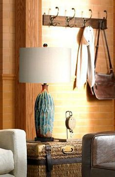 With Its Textured Azul Blue And Rust Brown Base, This Gorgeous Transitional  Table Lamp Will