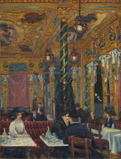 Charles Ginner 1878–1952 The Café Royal  1911 Oil paint on canvas   Inscribed 'GINNER' with the first letter a monogram of ICG (Isaac Charles Ginner) in brown oil paint bottom right; 'Charles Ginner | 19 Fitzroy St. | Fitzroy Sq. | London N.W.' in ink on lower member of stretcher. Presented by Edward Le Bas 1939