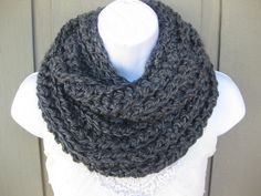 Crochet cowl in charcoal gray gray infinity scarf by StarlingNight, $27.50