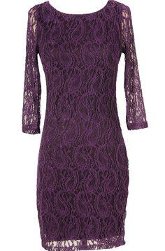 Paisley Lace Three Quarter Sleeve Dress in Purple
