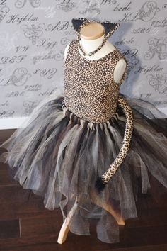 Cheetah Cat Costume Black Tan Brown Tulle by AuntieLisasBoutique