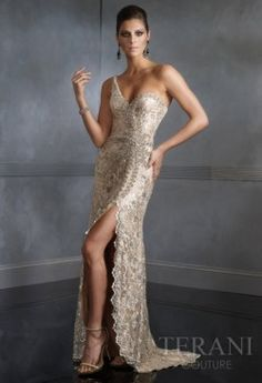This is a very nice unbalanced dress. The strap and the cut above the leg makes it pretty dramatic.