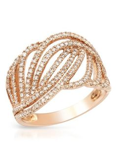 Bidz.com Listing #244170720 : VIDA Brand New Ring With 0.53ctw Genuine Clean Diamonds 14K Rose Gold - Certificate Available.