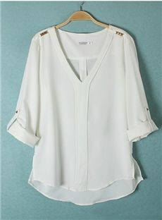 Lovely Euraerican Rivet Chiffon V-neckline Comfortable Blouse