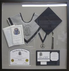 Paulding County Georgia High School Graduation Shadow box with hat, tassel, high school diploma and graduation announcement. The Gallery at Brookwood www.us Your Custom Framing Expert Graduation Open Houses, High School Graduation, College Graduation, Graduate School, Graduation Gifts, Graduation Frames, Graduation Ideas, Graduation Hood, Grad Cap