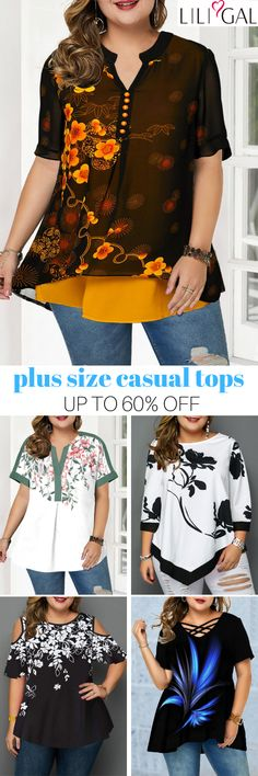 #coupons $8 off over $80, $20 off over $150, code: liligal2019 .Free Shipping & Easy Return. Liligal plus size casual tops for curvy women. #liligal #plussize #womensfashion