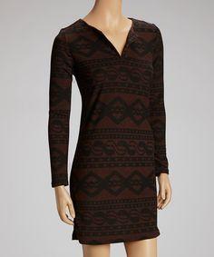 Look at this #zulilyfind! Brown Geometric Sweater Dress #zulilyfinds
