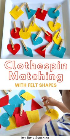 Create this fun matching activity for your toddler using felt and clothespins. A great, inexpensive way to occupy your toddler and encourage independent play while working on cognitive and fine motor skills Quiet Time Activities, Toddler Learning Activities, Toddler Preschool, Toddler Snacks, Preschool Activities, Preschool Shapes, Toddler Stuff, Cognitive Activities, Motor Skills Activities