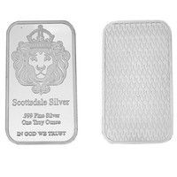 Wish | Scottsdale Silver 999 Fine Silver One Troy Ounce 1 Bars Bullion In God We Trust Coin With Display Case (Size: 50mm by 28mm by 3mm, Color: Silver)