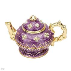 Purple tea pot crystal trinket box - Limoges boxes