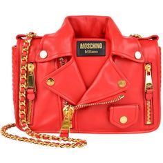 MOSCHINO Leather Biker Jacket Bag (51,355 PHP) ❤ liked on Polyvore featuring bags, handbags, shoulder bags, moschino, bolsas, red, chain strap shoulder bag, leather shoulder bag, chain strap handbag e leather handbags