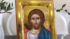 hand painted icon crafted in canvas on wood with the traditional method of the Byzantine hagiography with polished gold background. Christ Pantocrator, Paint Icon, Gold Background, Religious Icons, Art Store, Byzantine, Jesus Christ, Christianity, The 100