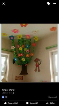 44 Easy and Free Spring Craft Ideas for Preschoolers - Art and Decoration Classroom Ceiling Decorations, Classroom Decor Themes, Classroom Walls, Future Classroom, Classroom Ideas, Kindergarten Classroom Decor, Classroom Crafts, Classroom Activities, Spring Art Projects