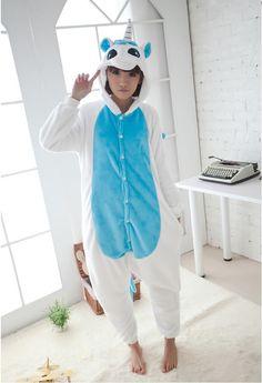 Flannel family animal pajamas one piece onsies onesies blue pink unicorn pajamas pijama unicornio combinaison pyjama licorne