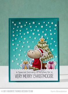 Merry Christmoose, Merry Christmoose Die-namics, Snowfall Stencil - Karin Åkesdotter   #mftstamps