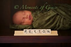 © Moments of Grace Photography, #NewbornPhotography I love the scrabble! So cute!