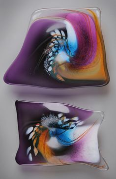 Sharon Fujimoto Hand Blown Art Glass - Plates