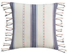Cupcakes and Cashmere Indigo Stripe Woven Pillow $60
