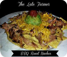 Nachos with a twist....BBQ Roast Nachos! A super easy yummy recipe! ~TheLateFarmer.com
