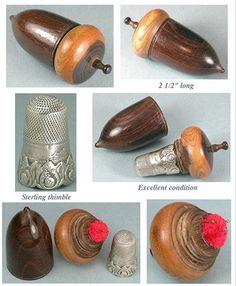 antique wooden acorn pin poppet, pincushion, thimble case