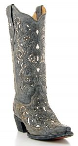 Women's Black Inlay and Stud Boot by Corral Boots