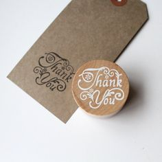 Thank you stamp, round wooden rubber stamp, card making stamp