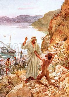 Jesus meeting with a demoniac in the country of the Gadarenes.  The Life of…