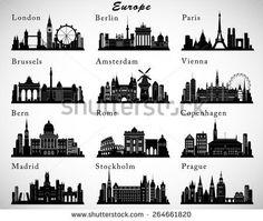 European Cities skylines set. Vector silhouettes