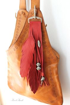 Red leather feathers bird skull silver beads by SweetSmokebags, $45.00