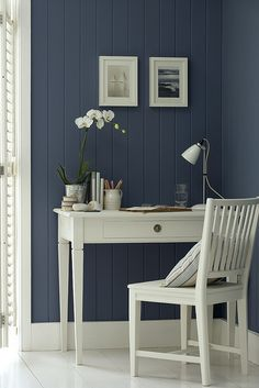 the dark wall and white furniture works so well. LOVE BLUE and I can't wait for white furniture Peinture Little Greene, Little Greene Paint Company, Desk Areas, Desk Space, Study Areas, My New Room, Wall Colors, Paint Colors, Home Fashion