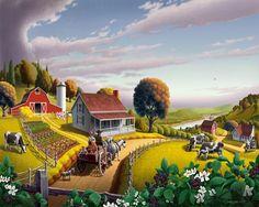 Appalachian Blackberry Patch Farm Americana Folk Art Digital Painting by waltcurlee, via Flickr