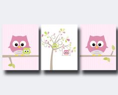 Owl Nursery Wall Print, Owl and Tree Wall Art Prints, Pink Nursery Prints, Baby Girl Nursery Wall Art Print and Bedroom Decor Bird Nursery, Nursery Prints, Nursery Wall Art, Wall Art Prints, Bird Wall Art, Tree Wall Art, Canvas Wall Art, Baby Painting, Painting For Kids