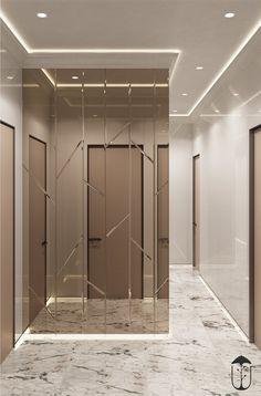 hallway decorations on Behance Home Room Design, Dining Room Design, Home Interior Design, House Design, Mirror Wall Tiles, Mirror Panel Wall, Mirror Ceiling, Feature Wall Design, Wall Panel Design