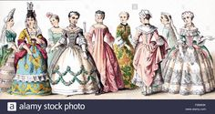 The figures illustrated here represent French ladies of rank—1750