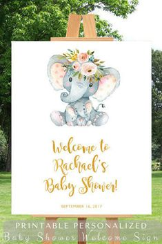 Printable personalized baby shower welcome sign with an elephant can welcome guests to a gender neutral baby shower #ad #babyshower