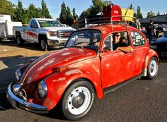"Mike D in his VW Beetle ""Crusin' the Gut,"" in Vancouver Washington."