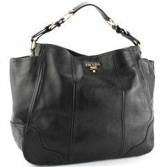 Prada BR3786 Vitello Daino Leather Shoppers Handbag – Black