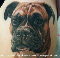 Boxer portrait tattoo #dog #pet #memorial
